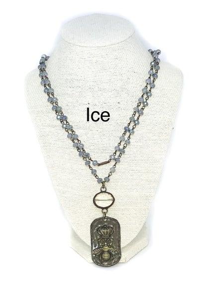 Melania Clara Bee Long Crystal Necklace with Rectangular Bee Charm