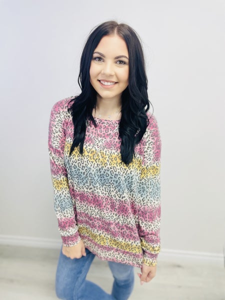 Long Sleeve Tie Dye Print Top with Banded Bottom