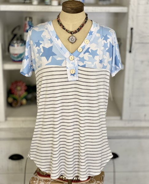honeyme Short Sleeve Stars and Stripes with Faux Button Accents Top