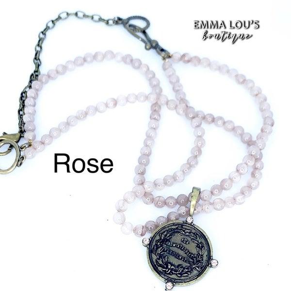 Melania Clara Harmony Double Strand Necklace with Medal Pendant