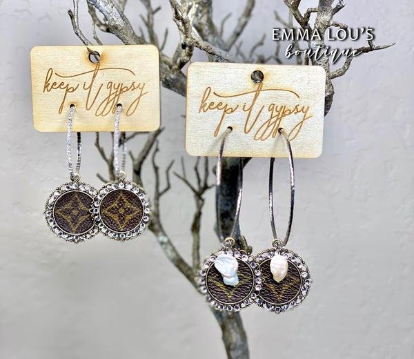 Rhinestone Medallion LV Up Cycled Hoop Earrings