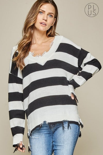 Andree by Unit Long Sleeve V-Neck Distressed Sweater