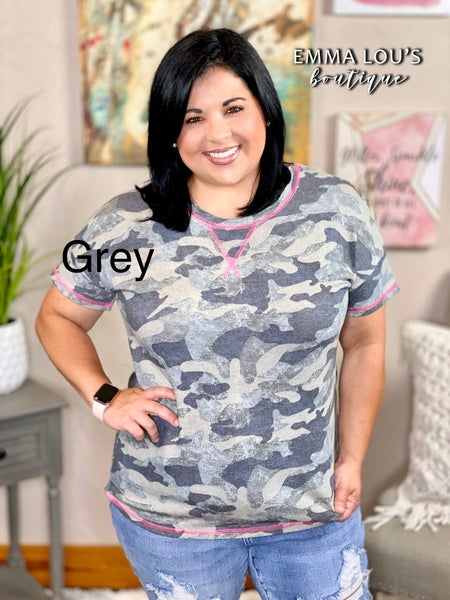 honeyme Short Sleeve Camo Top with Pink Stitching Detail