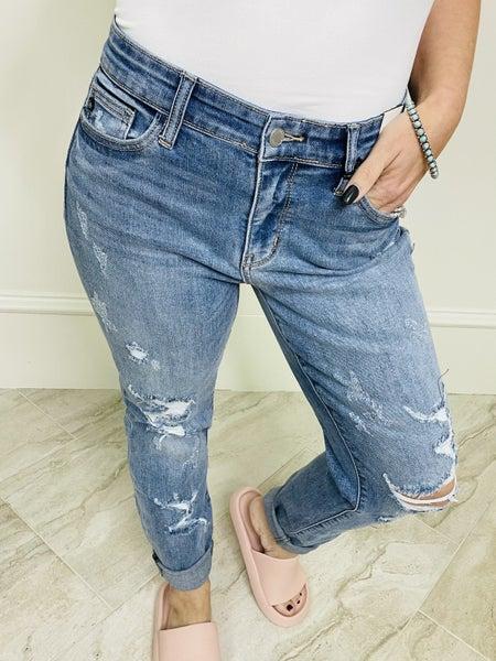 Judy Blue Mid Rise Destroyed Boyfriend Fit Denim Jeans