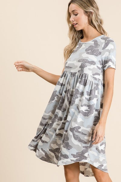 Camo Print Short Sleeve Dress