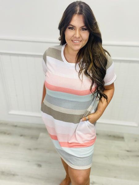 Short Sleeve Striped T-Shirt Dress