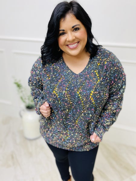Multi Color Dotted V-Neckline Sweater
