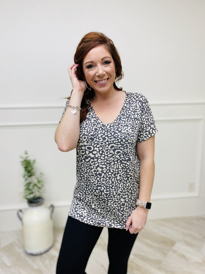 Short Cuffed Sleeve Top with V-Neckline