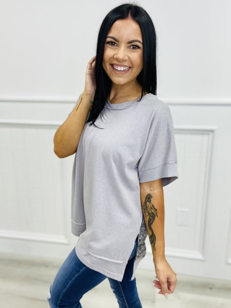 Short Sleeve Solid Knit Floral Contrast Top