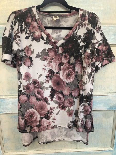 Short Sleeve V-Neck Floral Print Top