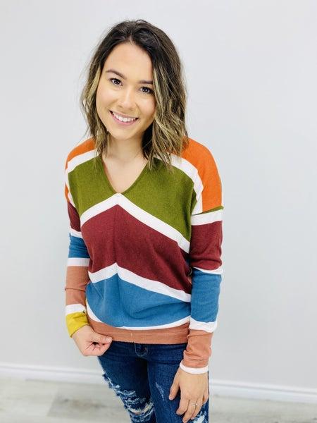 Multi-Colored Striped Sweater