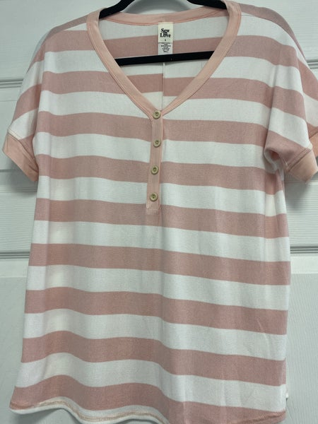 Striped V-Neck Top with Buttons