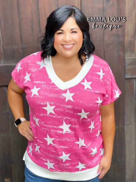 honeyme Short Sleeve Star Print Top with V-Neckline