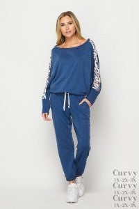 honeyme Two Piece Solid Jogger Set with Predator Print Contrast