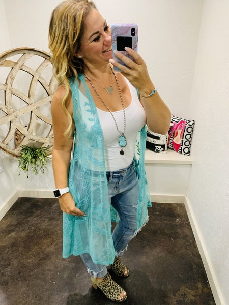 Lace Mid Length Vest with Pockets