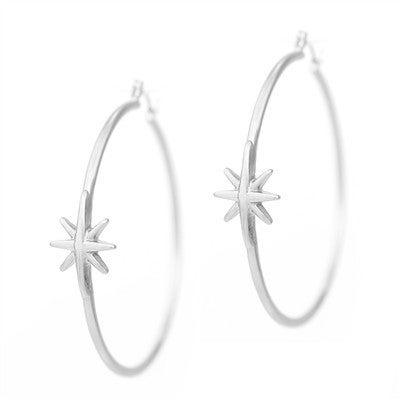 "Worn Silver with Star 2"" Hoop Earring"