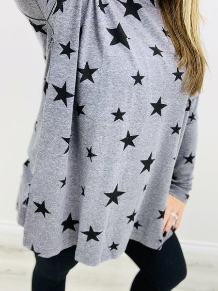 DOORBUSTER Star Printed Tri Blend Long Sleeve Top