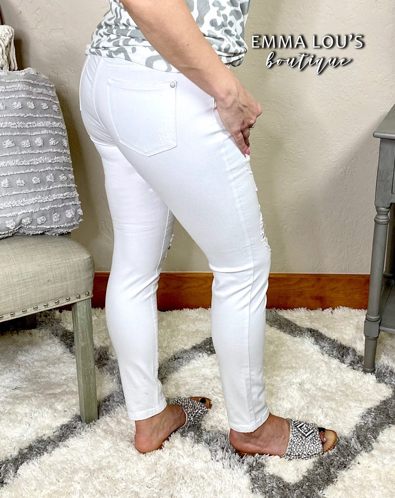 Judy Blue White Ankle Frayed Destroyed Skinny Jeans