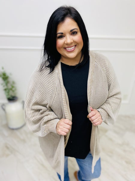 Solid Knit Open-Front Bubble Sleeve Cardigan