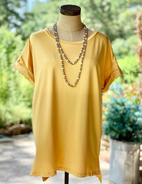 Rounded Neckline Short Cuffed Sleeve Top