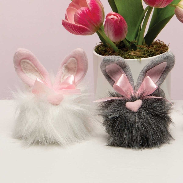 HEARTFELT COTTONTAILS WITH BUNNY EARS, HEART NOSE AND PINK BOW PINK/GREY