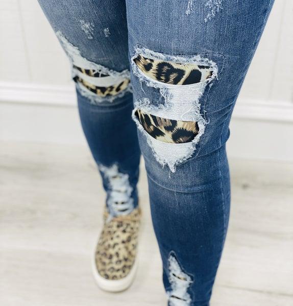 Judy Blue High Waist Leopard Patch Skinny Denim Jeans