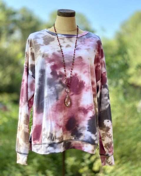 Tie Dye Long Sleeve Top with Rounded Neckline