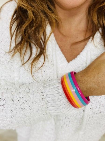Large Striped Bangle Bracelet