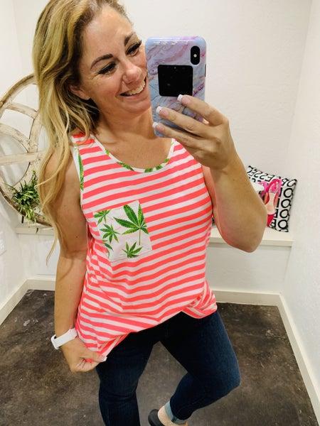 honeyme Sleeveless Leaf Print Top with Neon Pink Trim