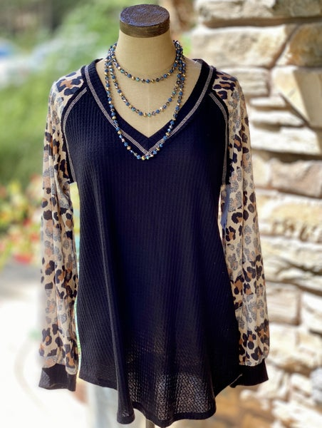 Long Sleeve Solid Top with Leopard Sleeves