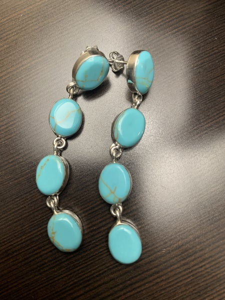 Sterling Silver 4 Stone Turquoise Earring