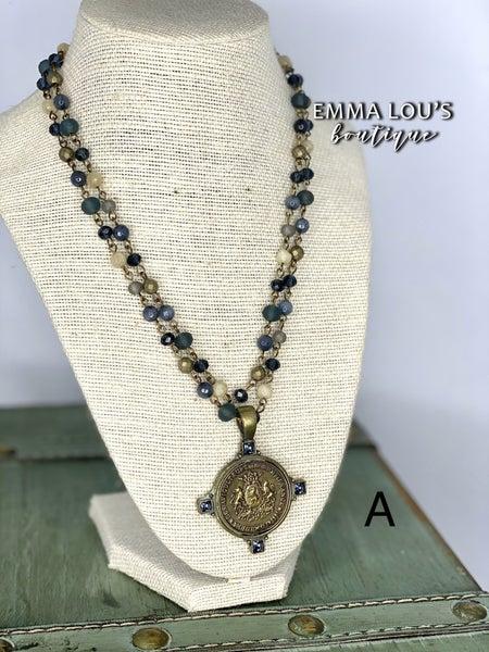"Melania Clara ""Soledad"" Long Beaded Crystal Necklace with Lion Pendant"