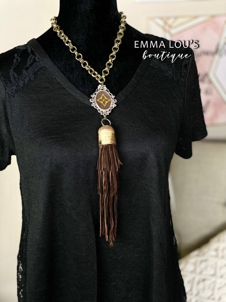 Leather Fringe LV Up-Cycled Portrait Medallion Necklace