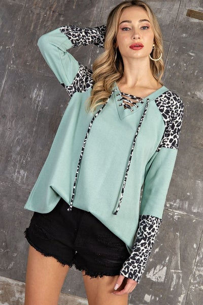 Leopard and Me Long Sleeve Lace Up Top