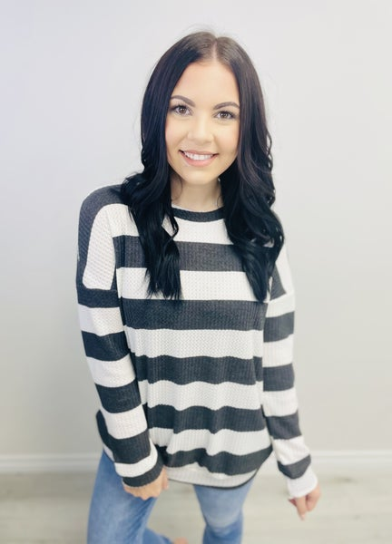 Striped Waffle Long Sleeve Top
