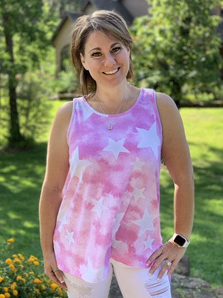 DAILY DEAL honeyme Sleeveless Top with Star Print