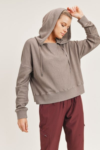 Waffled Boxy Hoodie Dropped Dolman Top