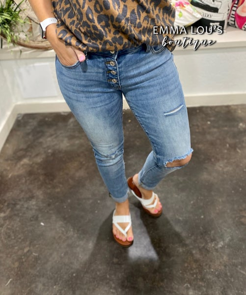 KanCan Mid Rise Button Fly Mom Jeans