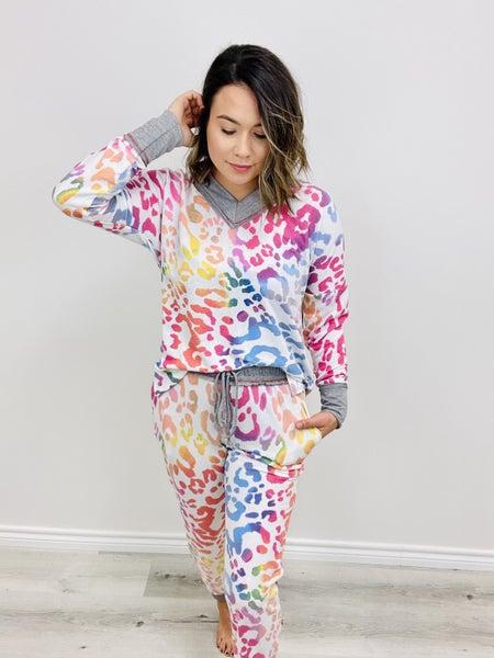 Cheetah Print Knit Two Piece Set