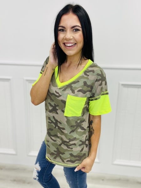 Short Sleeve V-Neck Camo Top with Neon Accents