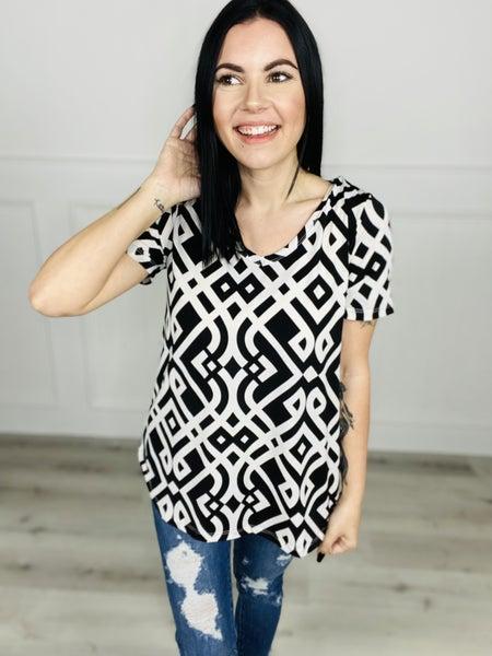 Black and White Short Sleeve V-Neck Top - ORL