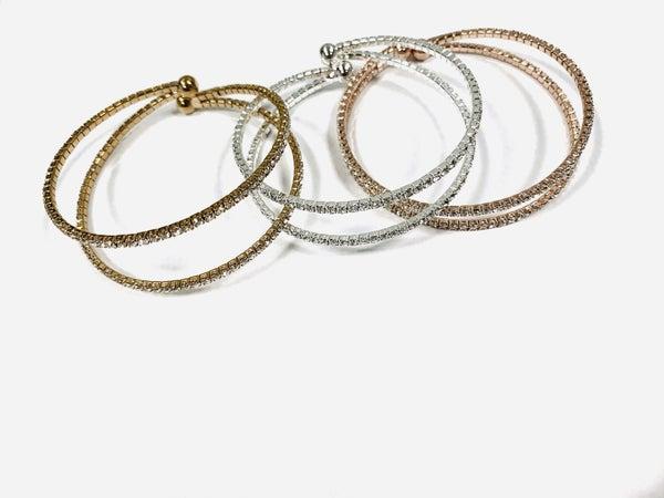 :: JEWELRY :: 2 Row Cuff bracelet with Bling