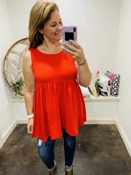 DAILY DEAL Brushed DTY Empire Waist Sleeveless Top