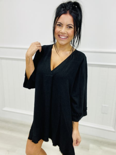 3/4 Length Sleeve Woven Tunic Top with V-Neckline