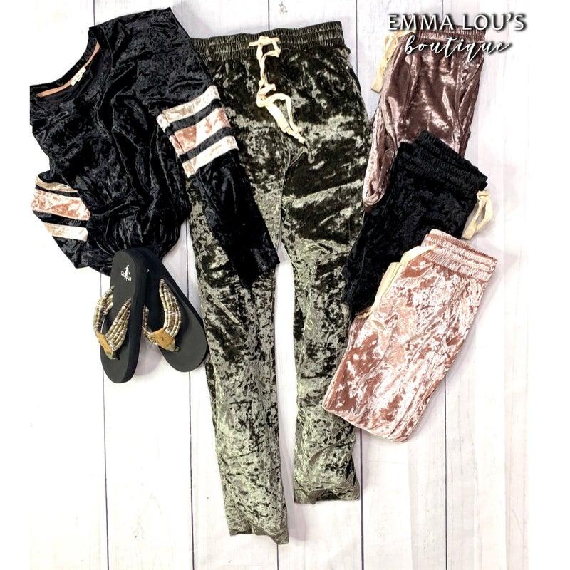POL Crushed Velvet Drawstring Pants