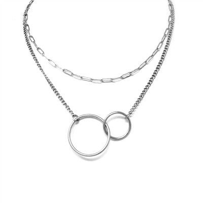Silver Layered Double Circle Necklace