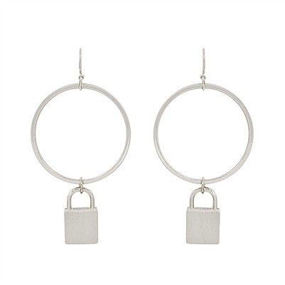 """Matte Silver Circle with Locket Charm 2"""" Earring"""