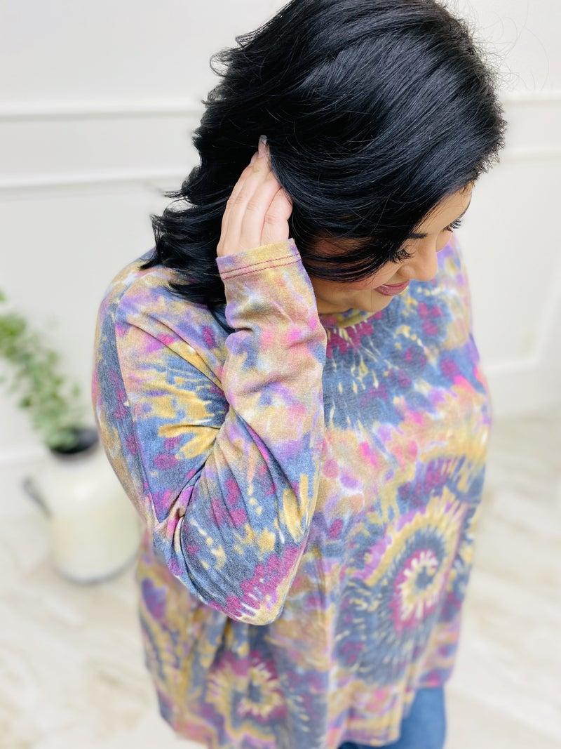 Long Sleeve Tie Dye Top with Dolman Sleeve