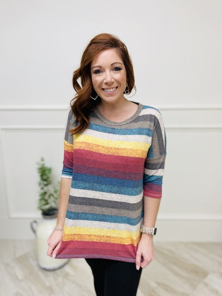 Elbow Length Sleeve Top with Rounded Neckline