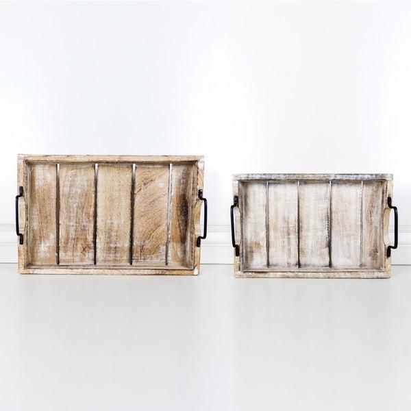 11069 18x12, 15x10 Mango Wood Nested Trays Set